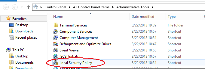 windows Server 2012 local security policy