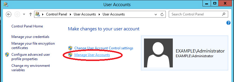 windows Server 2012 manage user accounts
