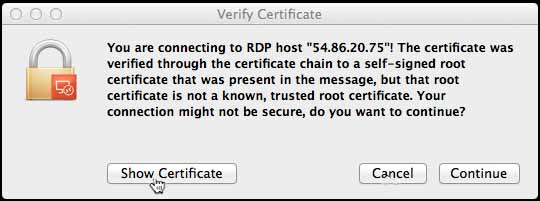 Connecting VDS from Mac - check certificate
