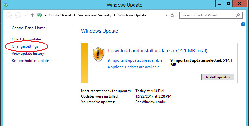 windows server 2012 updates change settings
