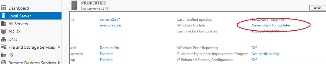 windows server 2012  windows update set never check result