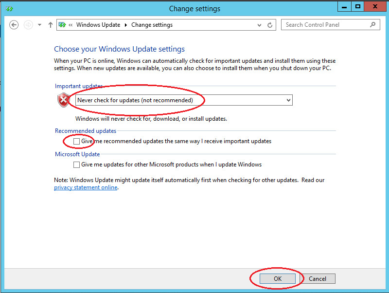 windows server 2012 update set never check