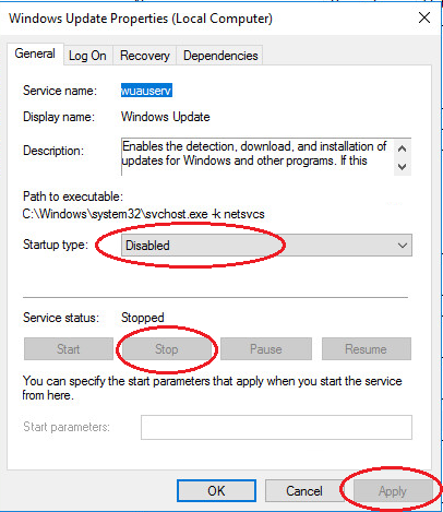 windows server 2016 Update Service disable
