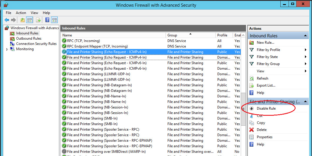 windows server ping disable / enable
