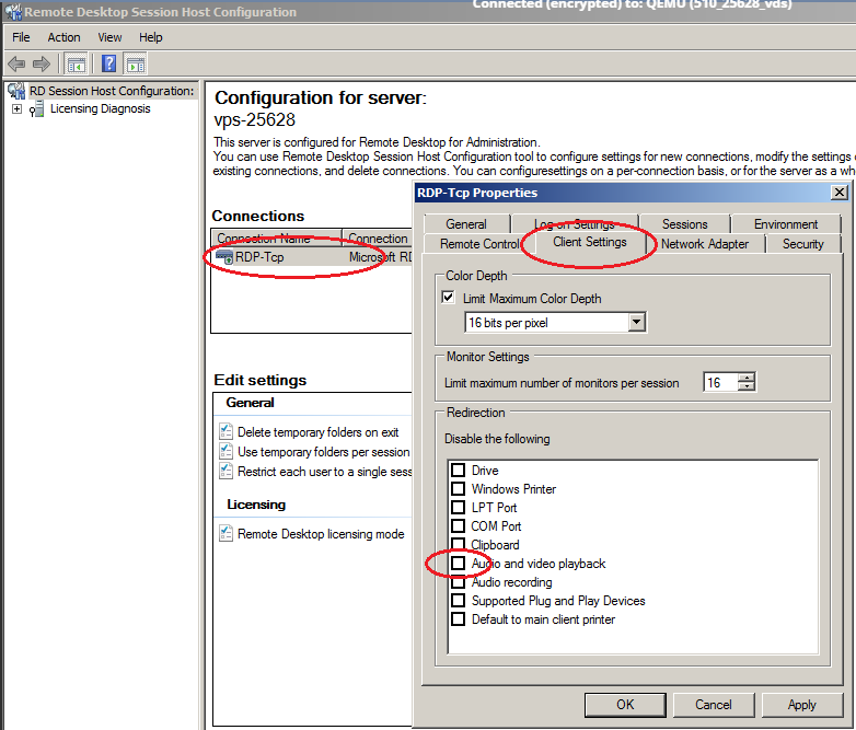windows server 2008 RDP configuration settings