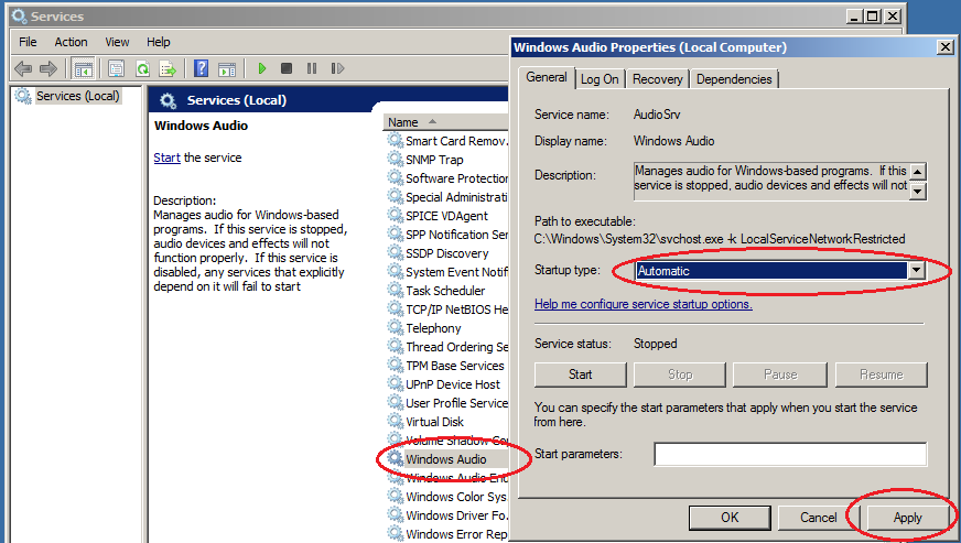 windows server 2008 audio services configuration