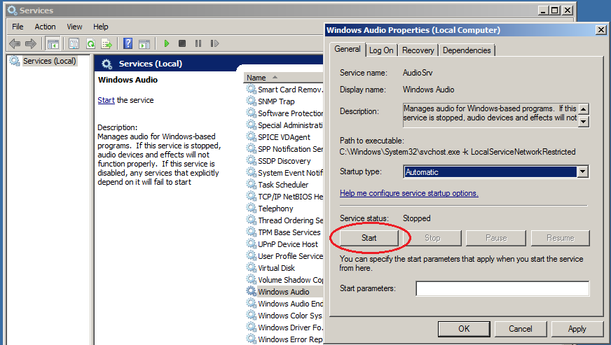 windows server 2008 RDP services start