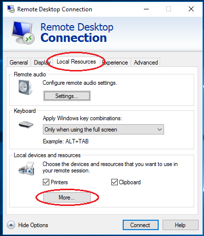 RDP settings Local resourses