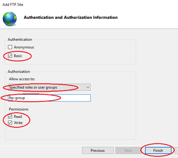 Setup FTP Win2016 -- add FTP site authentication