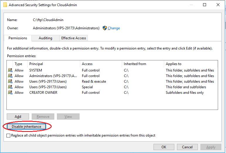 Setup FTP Win2016 -- user isolation disable intf