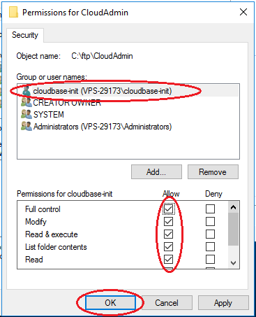 Setup FTP Win2016 -- user isolation security add user rights