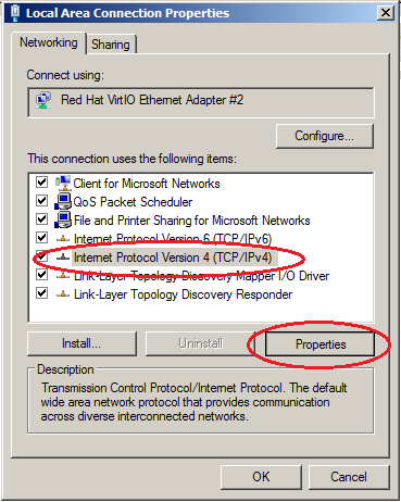 Windows server 2008  IPv4 - Properties