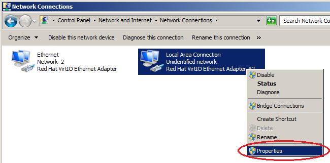 Windows server 2008 - Local Area Connection - Properties