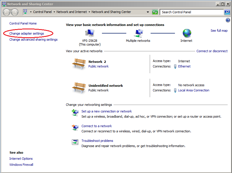 Windows server 2008 change adapter settings