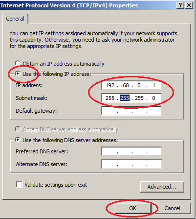 Windows server 2008  entering ip