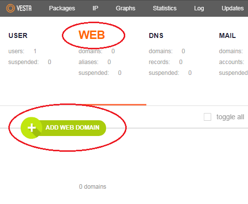vestacp add web domain